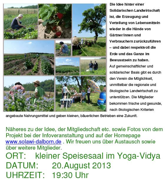 Infoveranstaltung Solidarische Landwirtschaft am 20.8.